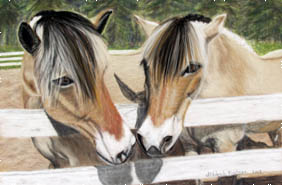 Beezy and Sam 2 horse pastel pet portrait by fine artist Donna Aldrich-Fontaine